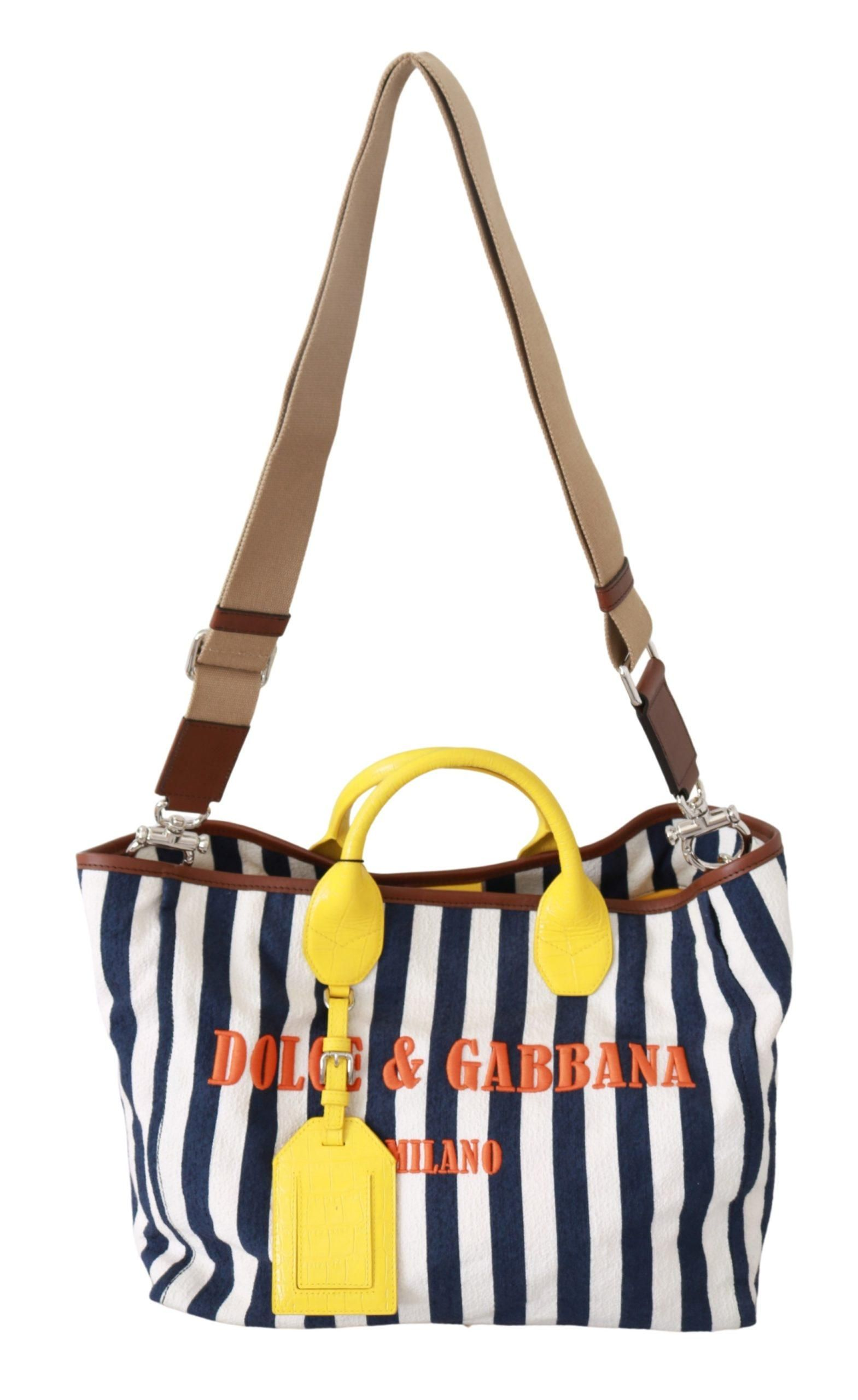 Blue White Striped Shopping Borse Women Tote Cotton Bag