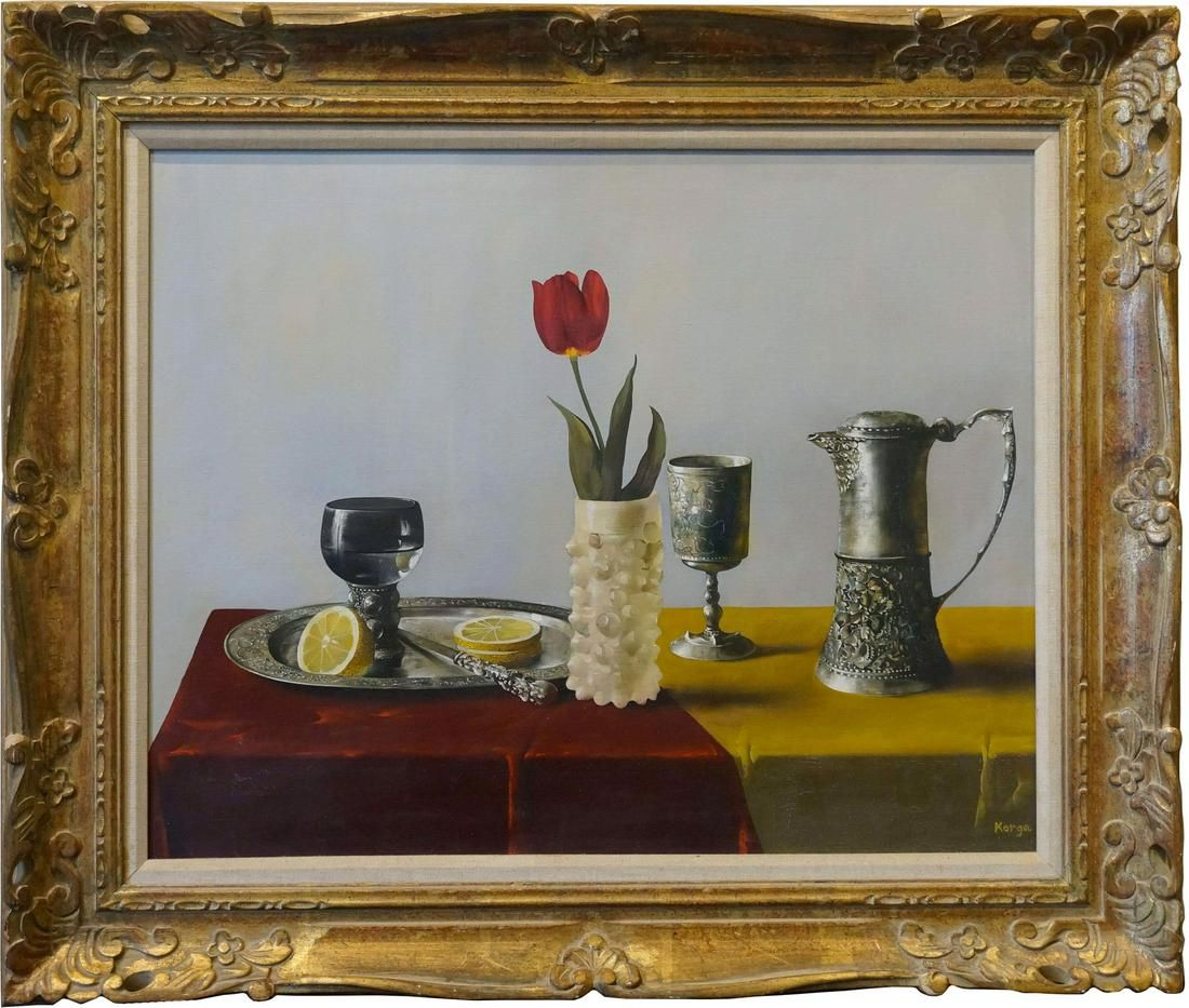 Still Life With Pewter and Rose Oil Painting