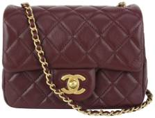 Chanel 21B Bordeaux Burgundy Quilted Lambskin Pearl