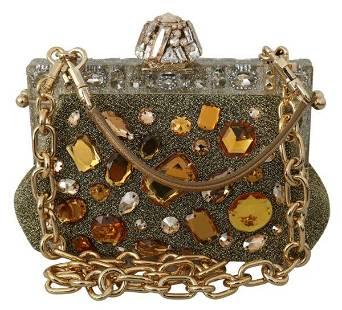Gold VANDA Crystal Clutch Handbag Shoulder Bag