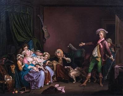Satirical Family Interior Oil Painting