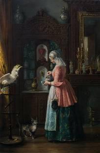 Cat & Cockatoo Interior Oil Painting