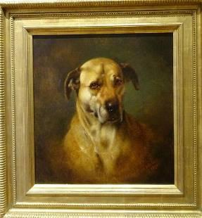 English Mastiff Dog Portrait Oil Painting