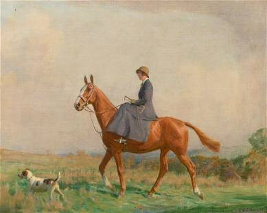Portrait of A Lady Riding Her Horse Oil Painting