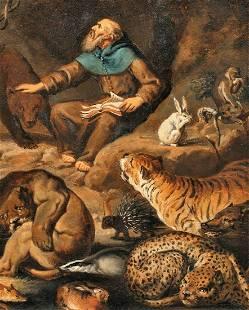 Saint Blaise & Wild Animals Oil Painting