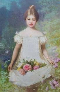 Girl Carrying Roses Oil Painting
