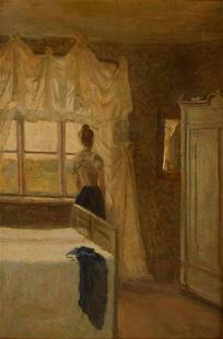 BEDROOM INTERIOR OIL PAINTING