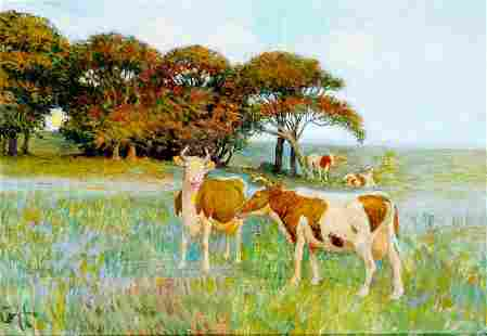 COWS ON THE FIELD OIL PAINTING