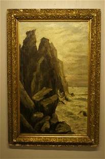 CLIFFS IN CALIFORNIA OIL PAINTING