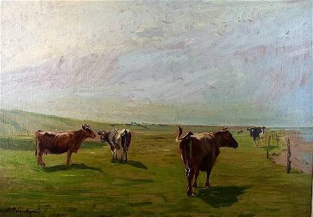 COWS ON FIELD OIL PAINTING