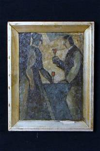 COUPLE IN INTERIOR OIL PAINTING