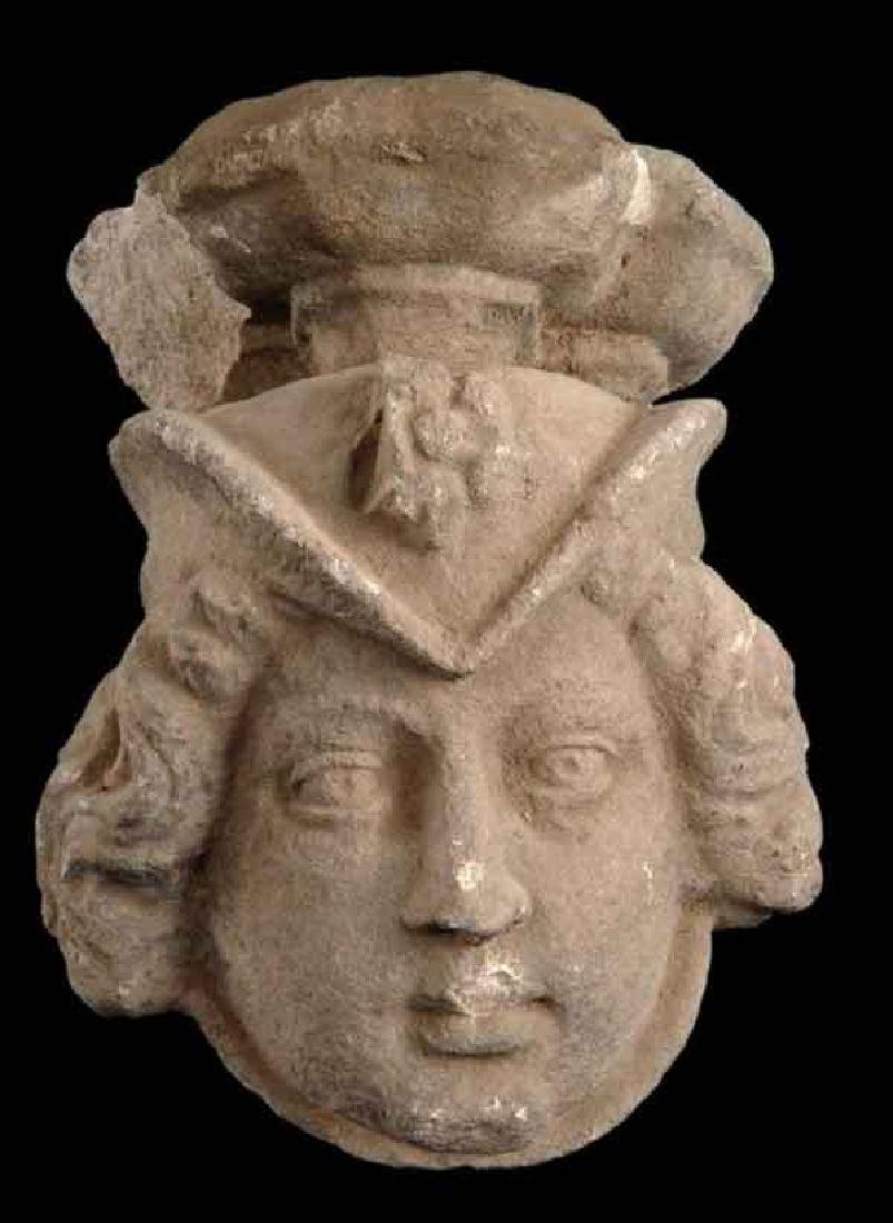 GOTHIC WOMEN'S LIMESTONE HEAD WALL MOUNT CIRCA