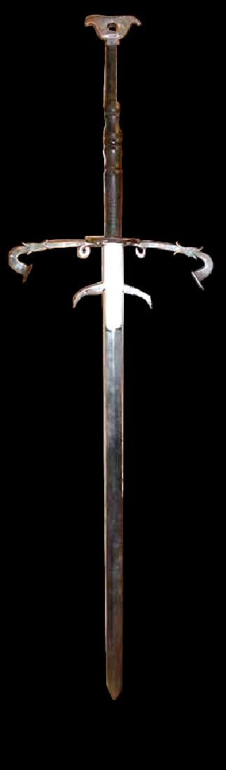 EXCEPTIONALLY RARE & ELEGANT ETCHED 2 HAND SWORD FROM