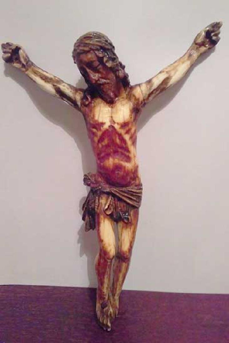 12th Century  Crucified Bone Carved & Polychrome Christ