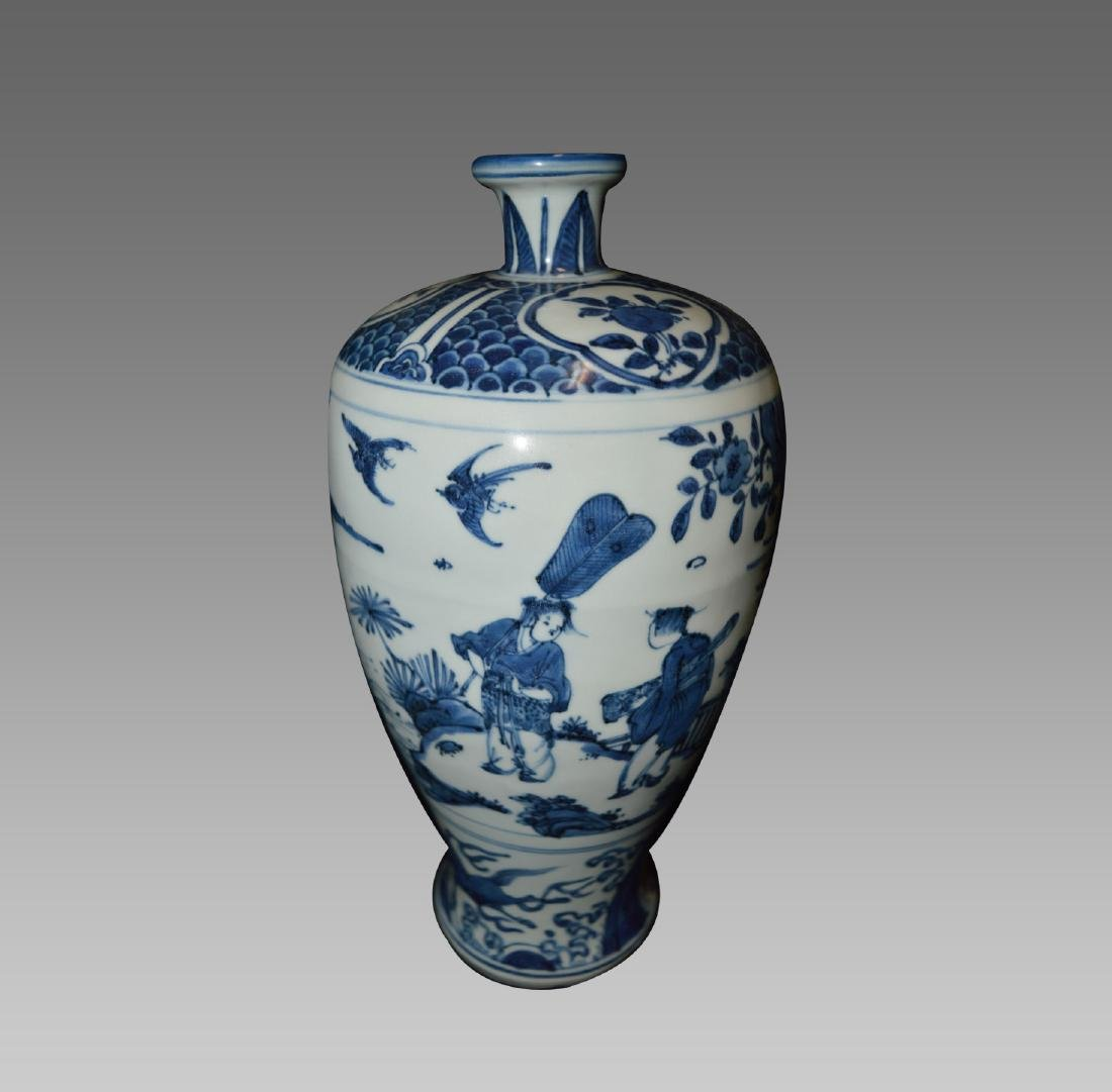 A BLUE AND WHITE MEIPING WITH LANDSCAPE DESIGN