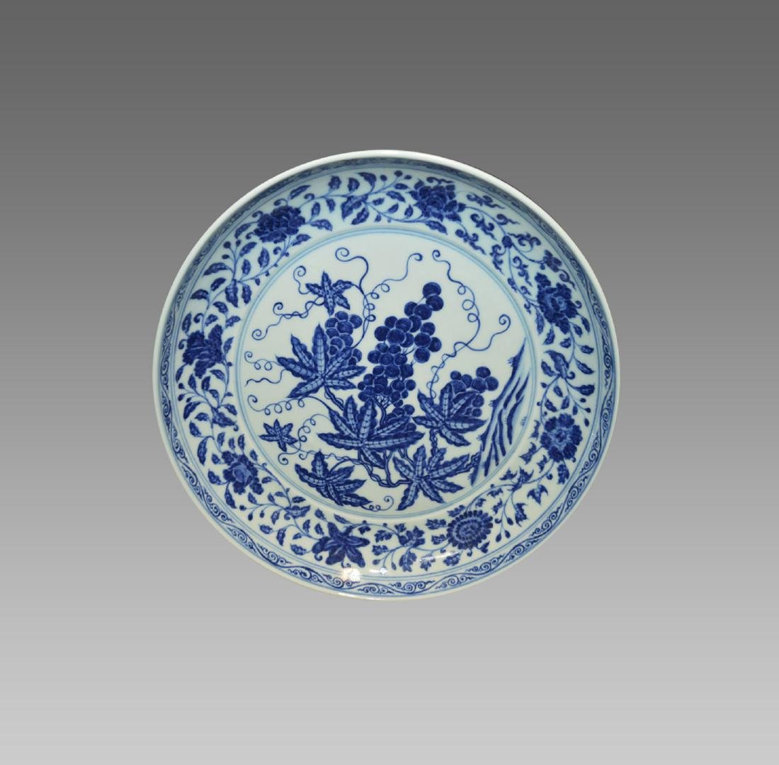 A BLUE AND WHITE BRANCHES EPHRAIM PLATE
