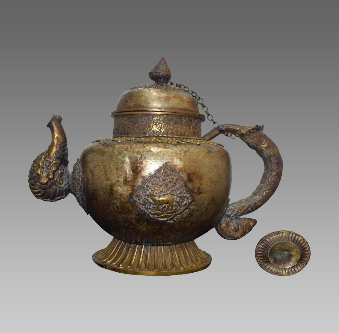 COPPER GILT TEA/WINE POT