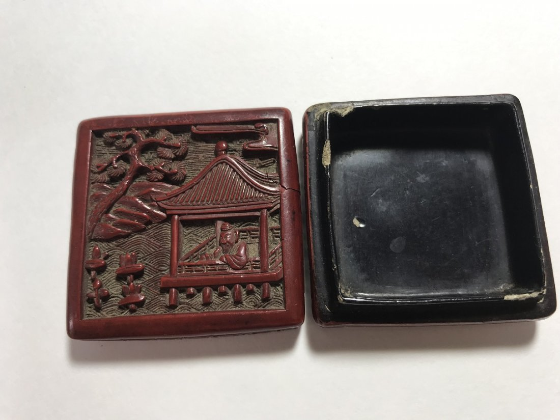 A SMALL OLD CHINESE CARVED CINNABAR SQUARE BOX AND - 7