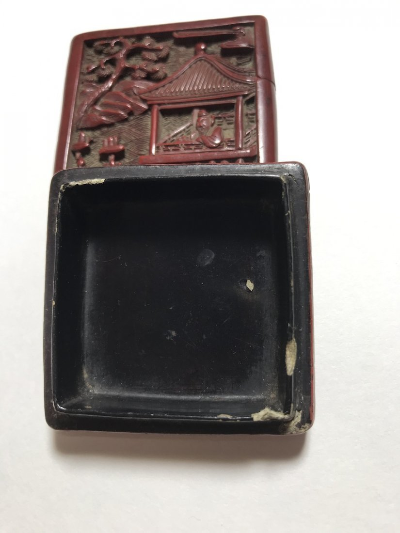 A SMALL OLD CHINESE CARVED CINNABAR SQUARE BOX AND - 8