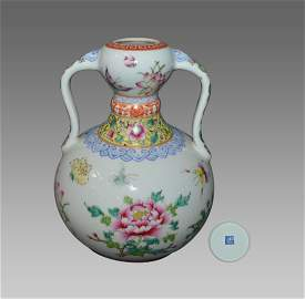 """A LOVELY PAINTED ENAMEL """"BUTTERFLIES AND PEONY"""" DOUBLE"""