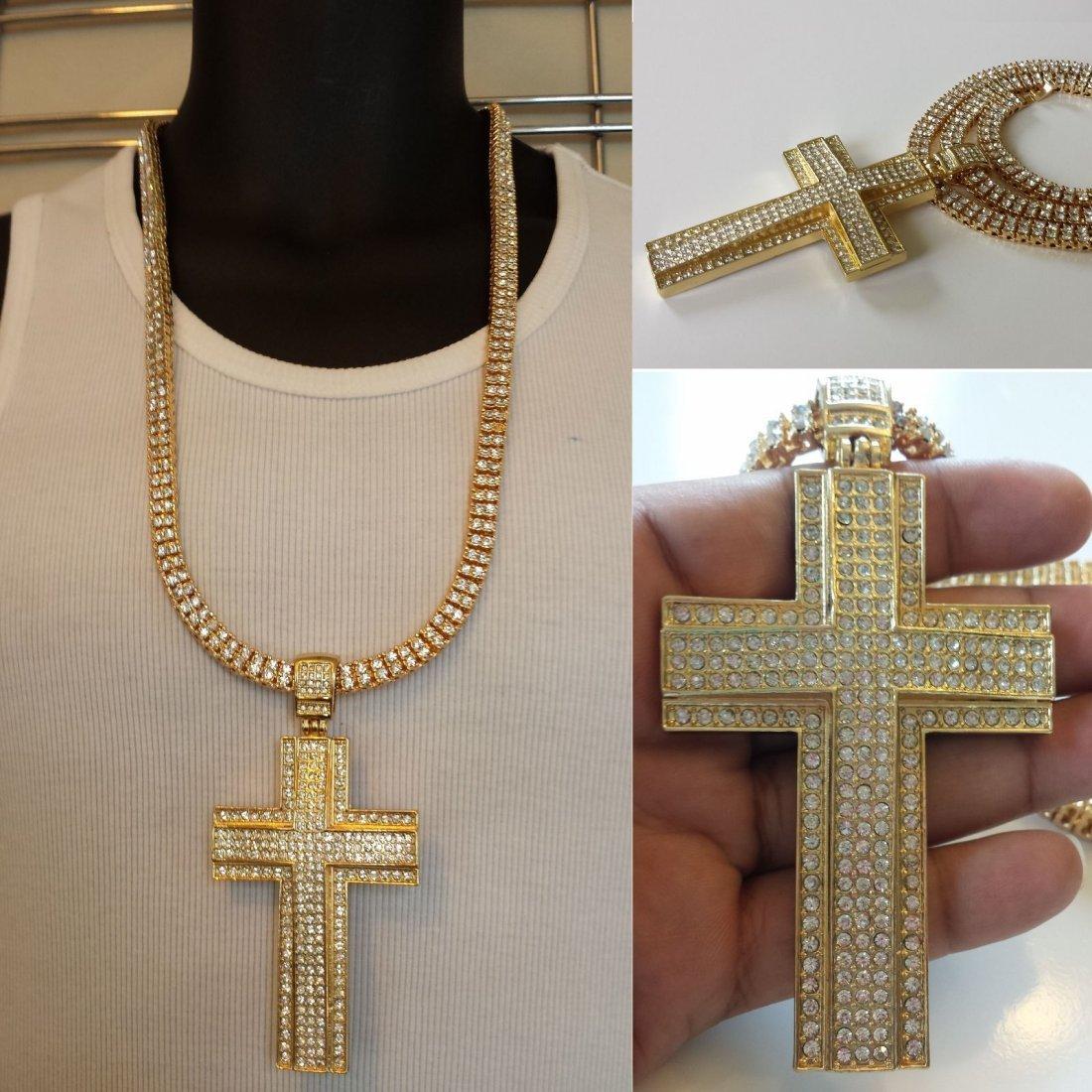 Cross 14K Yellow Gold 58gr. and Swarovski Crystal 3ct.