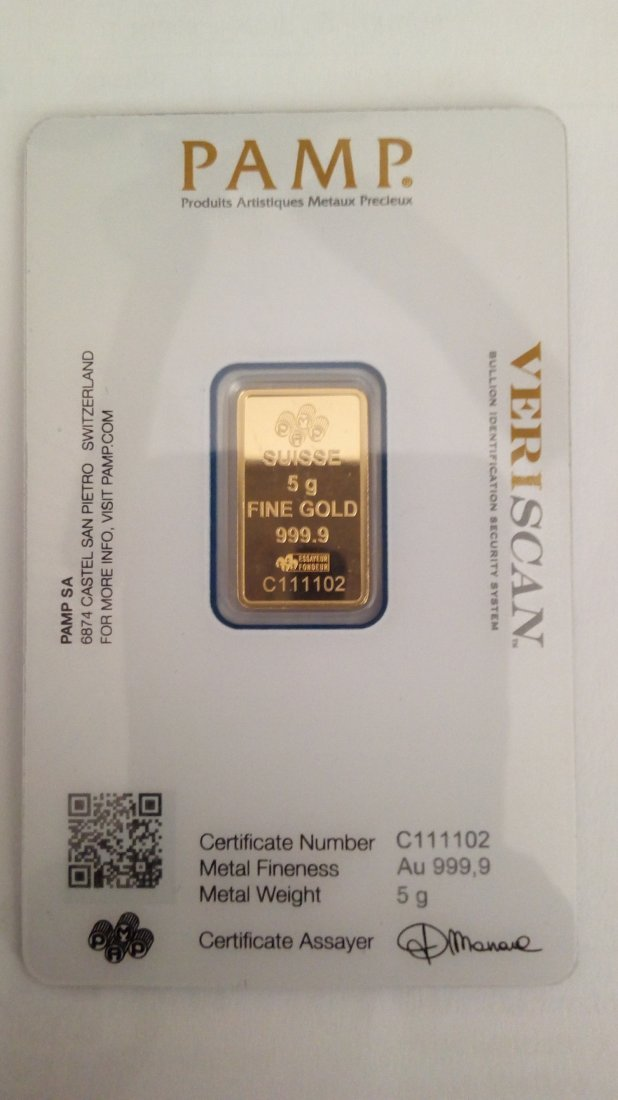 Gold Bar 5 grams Pamp Suisse