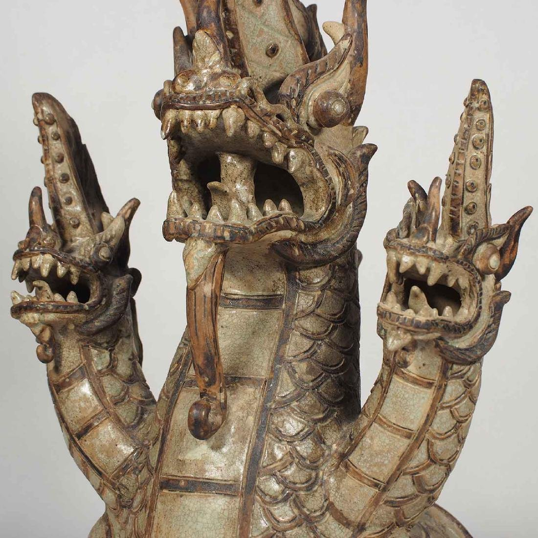 Three-Heads Dragon Roof Finial, Sukhothai. - 5
