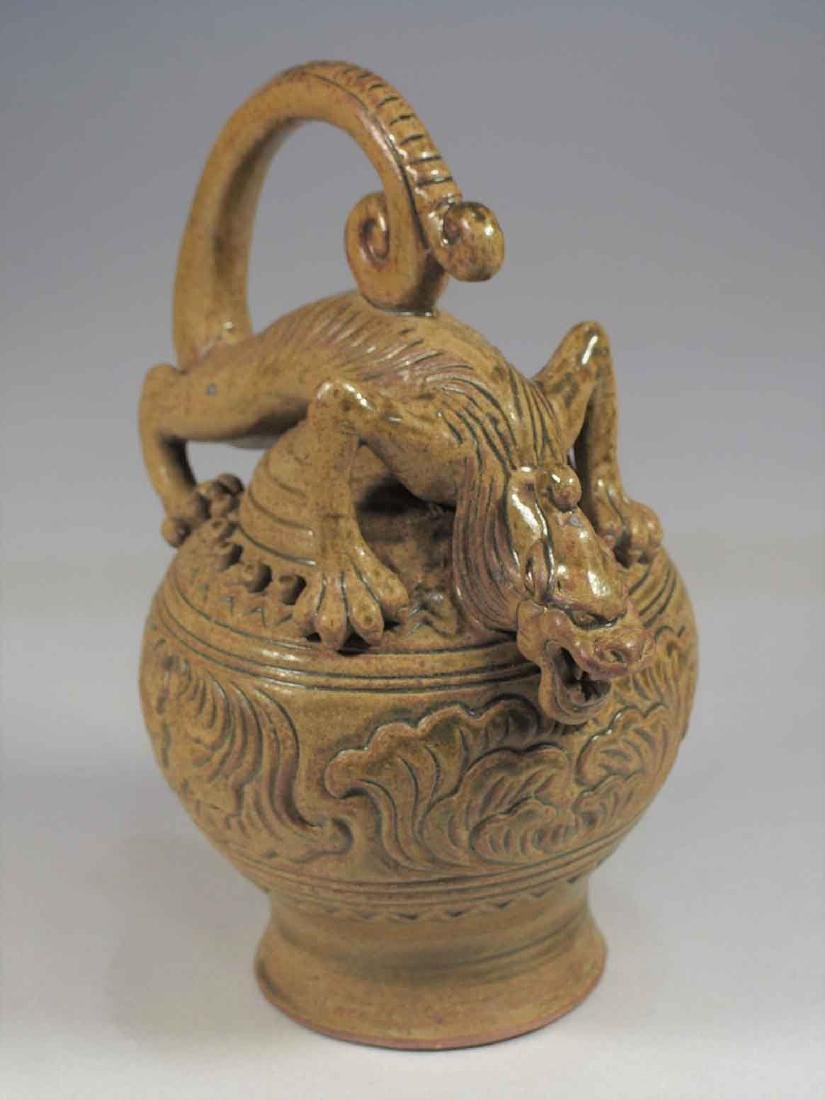 Celadon Reverse-Flow Ewer with Qilin Form, Eastern