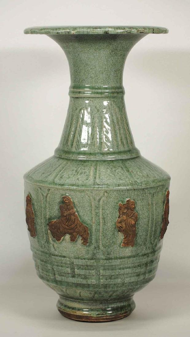 Large Longquan Vase with Biscuit-Decorated 8 Immortals,