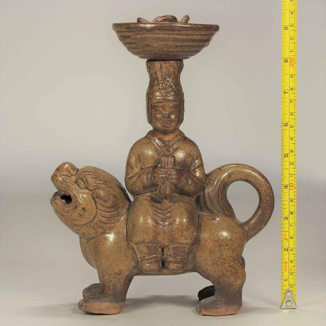 Celadon Lamp with Man Seating on Qilin Form, Eastern - 11