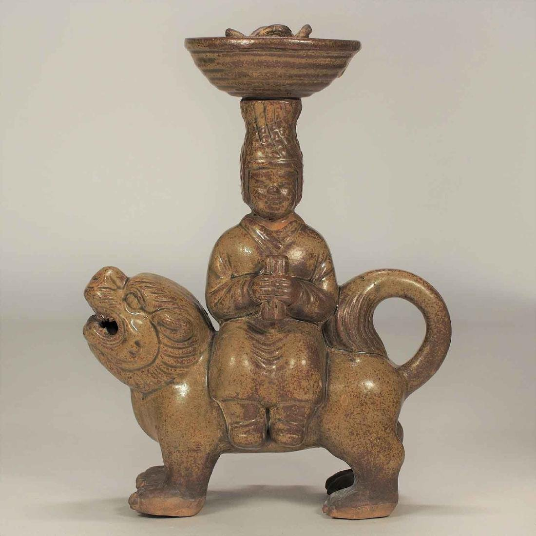 Celadon Lamp with Man Seating on Qilin Form, Eastern - 2