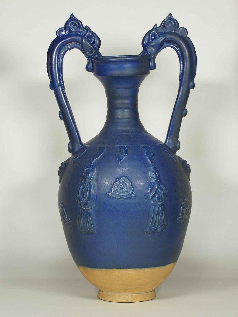 Blue Glaze Amphora-form Vase, late Tang Dynasty