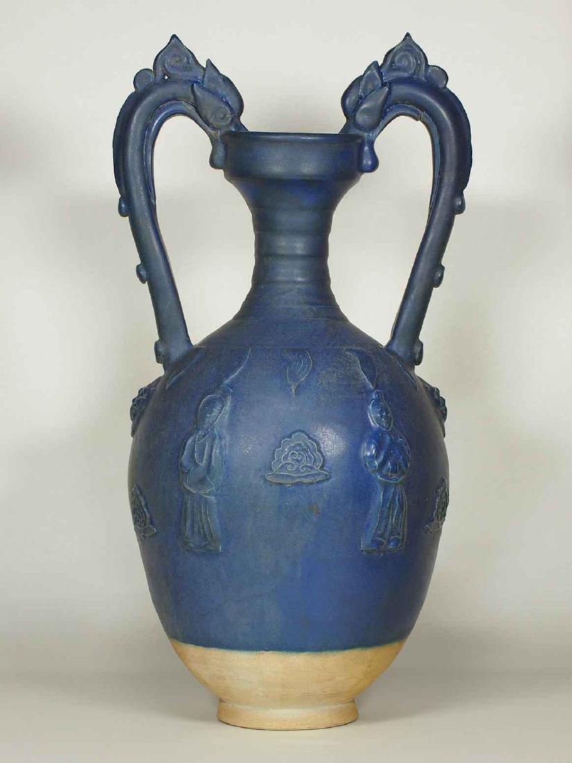 Blue Glaze Amphora-form Vase, late Tang Dynasty - 2