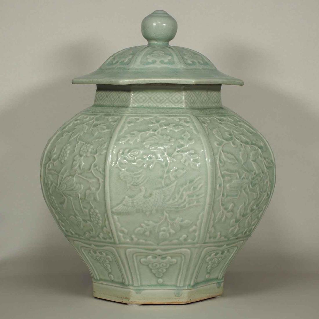 (TL) Octagonal Lidded Jar, late Yuan-early Ming Dynasty - 2