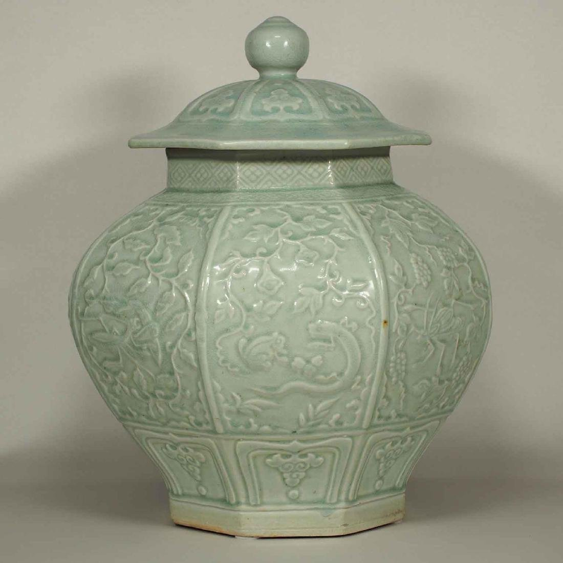 (TL) Octagonal Lidded Jar, late Yuan-early Ming Dynasty - 3