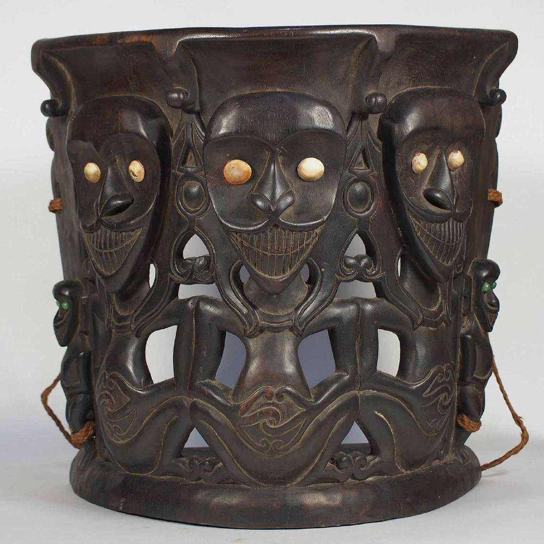 Old Carved Wood Baby Carrier with Human Design, Dayak