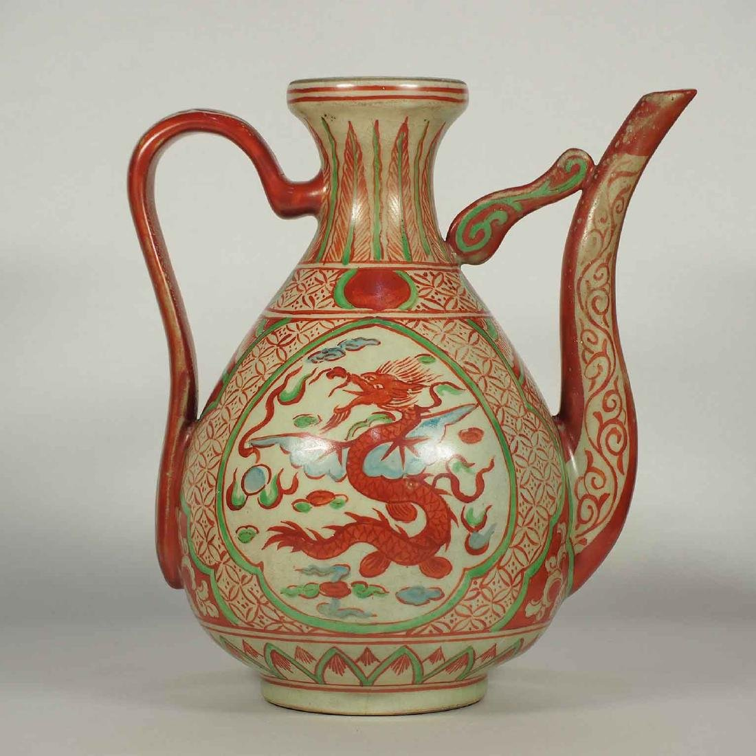 Ewer with Winged Dragon Design, late Ming Dynasty