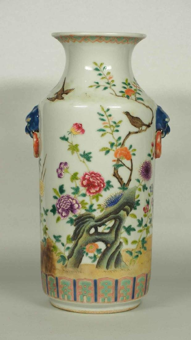 Lion-Head Handles Vase with Flowers, Guangxu Mark, Qing