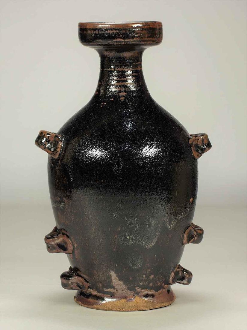 Black Glaze Pilgrim Flask with 6 Lugs, late Tang-5