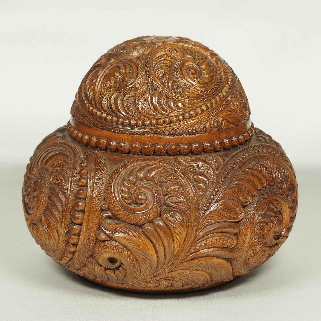 Hand Carved Wood Lidded Vessel with Fern Design