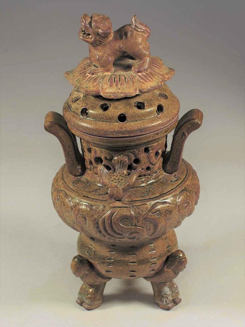 Celadon Tripod Censer with Qilin on Lotus Lid, Eastern
