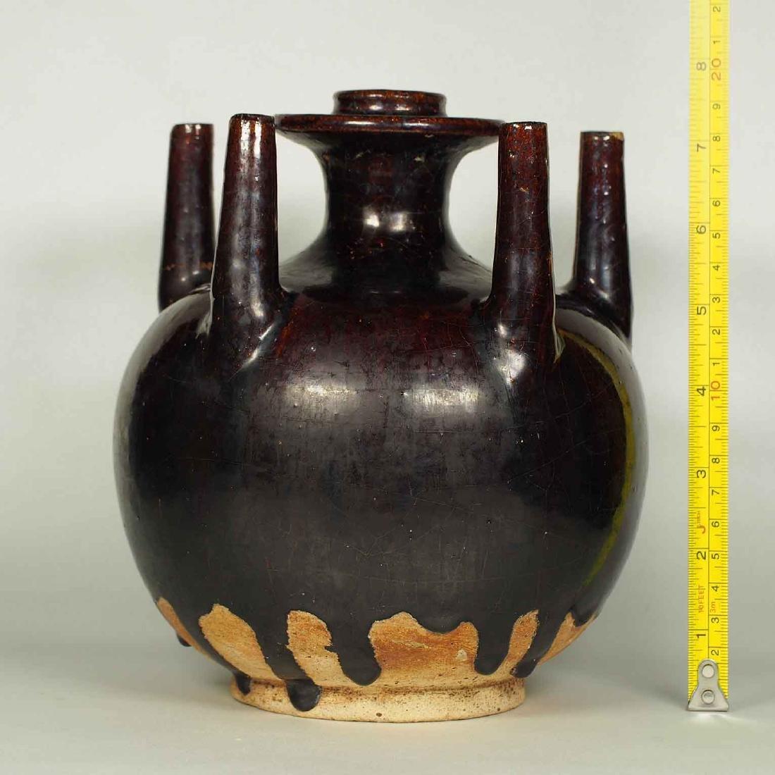 Black Glaze vessel, Song Dynasty. Globular Five Tubes - 10