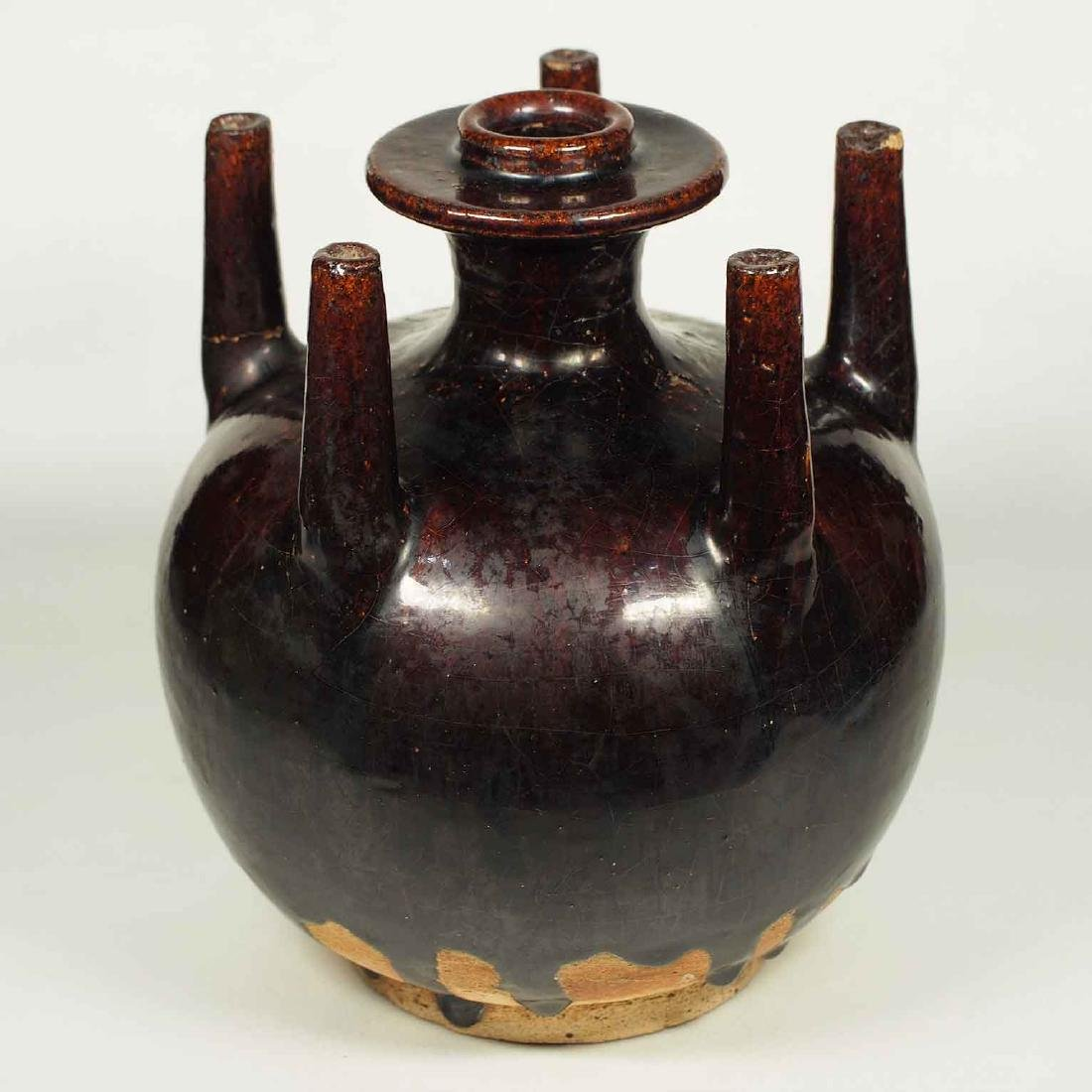Black Glaze vessel, Song Dynasty. Globular Five Tubes