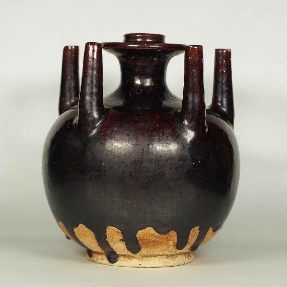 Black Glaze vessel, Song Dynasty. Globular Five Tubes - 2