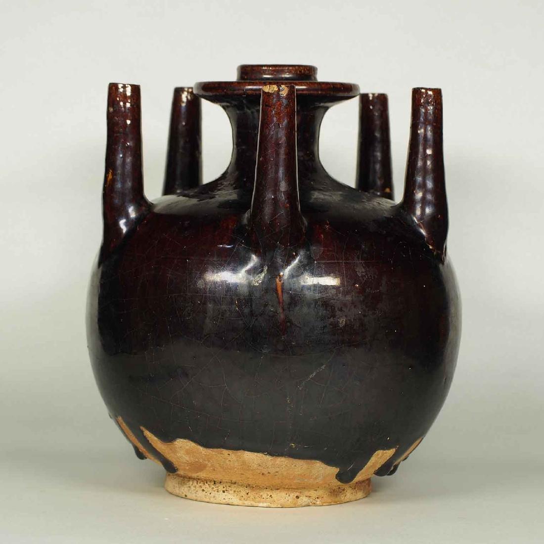 Black Glaze vessel, Song Dynasty. Globular Five Tubes - 3