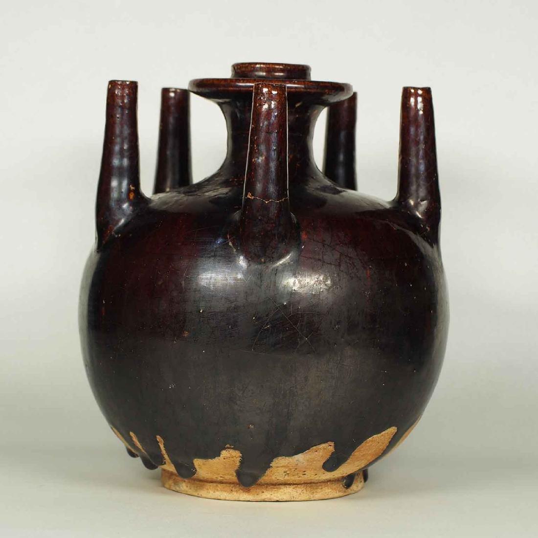 Black Glaze vessel, Song Dynasty. Globular Five Tubes - 4