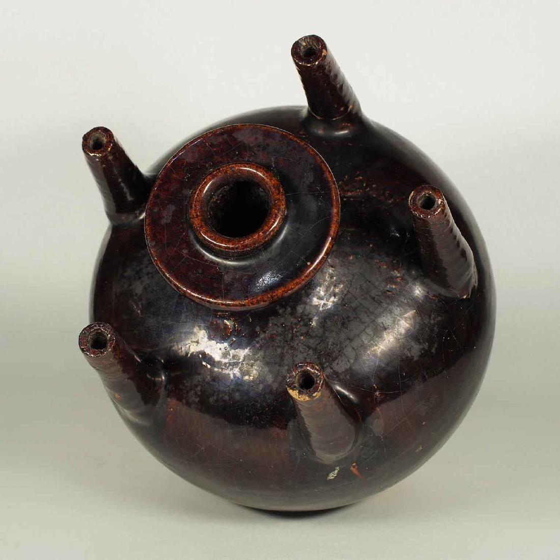 Black Glaze vessel, Song Dynasty. Globular Five Tubes - 7