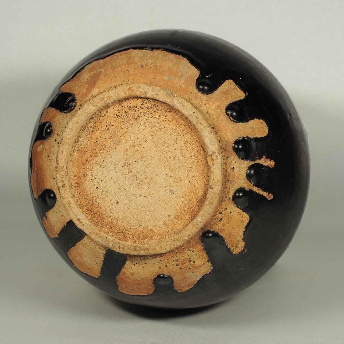 Black Glaze vessel, Song Dynasty. Globular Five Tubes - 8