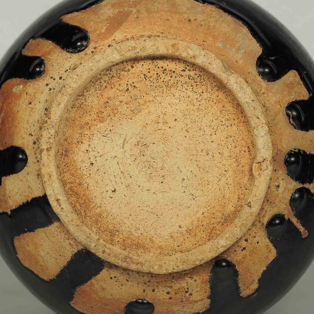 Black Glaze vessel, Song Dynasty. Globular Five Tubes - 9