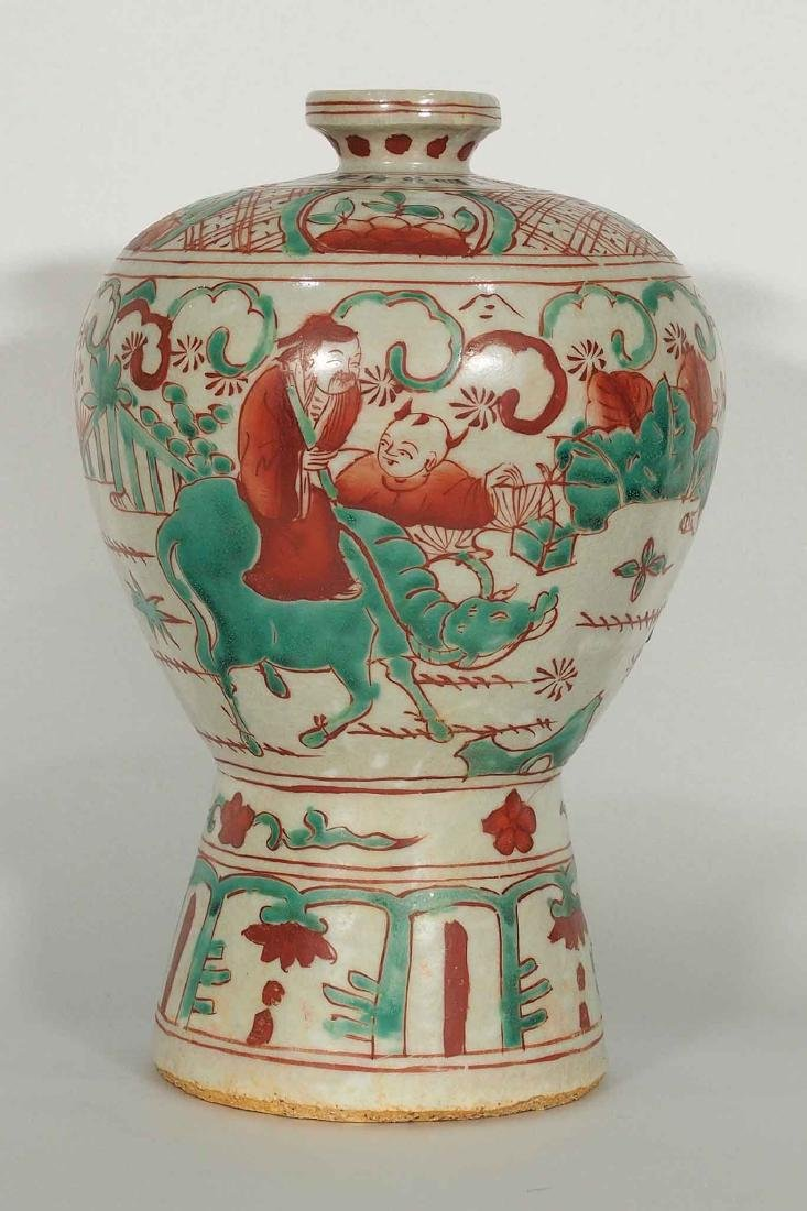 Wucai Meiping with Figures, Wanli Mark and Period, Ming